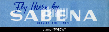 Travel Luggage Label for Sabena Belgian Air Lines     Date: circa 1960s - Stock Photo