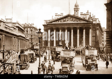 The Royal Exchange and the Bank of England, London, UK, ca 1920 - Stock Photo