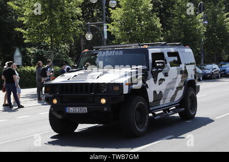 Hummer car in the streets of Berlin, Germany - Stock Photo