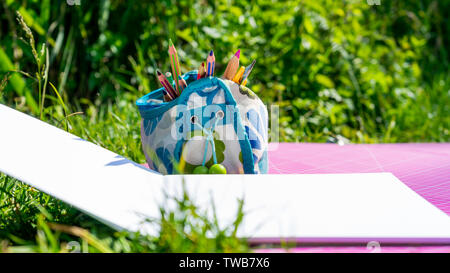 Back to school concept. Colorful pencils in pencil pouch with blank drawing notebook and measuring board in grass - Stock Photo