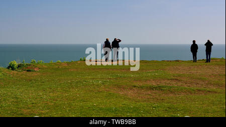 Two couples looking out to sea from an exposed headland. - Stock Photo