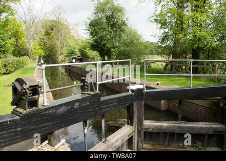 Southland Lock on the Wey and Arun Canal, West Sussex, UK. New and restored lock on the canal, May 2019 - Stock Photo