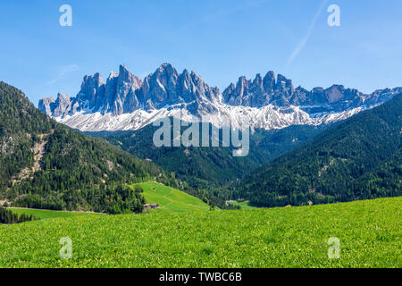 The Odle group in spring, Dolomites, Funes Valley, Bolzano province, South Tyrol, Italy - Stock Photo