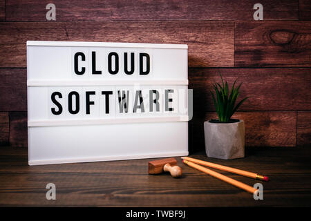 Cloud software. Text in lightbox - Stock Photo