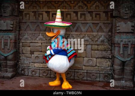 Orlando, Florida. May 16. 2019. Donald Duck in Mexican clothes at Epcot