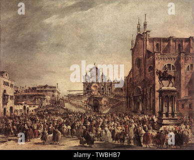 Francesco Guardi - Pope Pius Vi Blessing People Campo Santi Giovanni E Paolo 1782 - Stock Photo