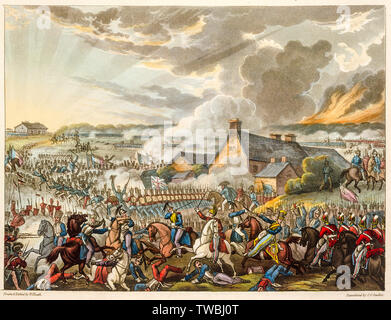 The Battle of Waterloo, June 18th 1815, engraving, 1819 - Stock Photo