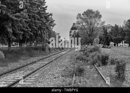 Views of railway tracks in Old Montreal. - Stock Photo