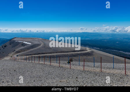 Panoramic view from the summit of Mont Ventoux, the 'Giant of Provence' - Stock Photo