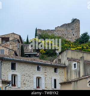 Castle ruins at the ancient city of Gigondas in southern France. - Stock Photo
