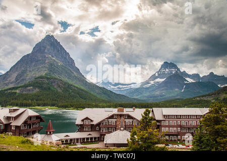 Browning, MT - July 10, 2010: Many Glacier Hotel is located on Swiftcurrent Lake in Glacier National Park