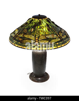 Tiffany Lamp. Dragonfly Table Lamp by Tiffany Studios, c.1904. - Stock Photo