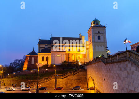 Warsaw, Poland - November 11, 2018: View of St. Anne's Church at night in Warsaw - Stock Photo