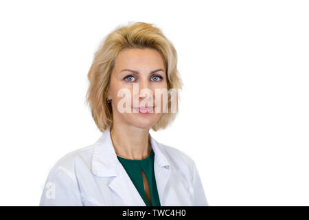 business portrait of a nutritionist on white background - Stock Photo