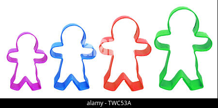 Colorful Cookie Cutters on White Background - Stock Photo