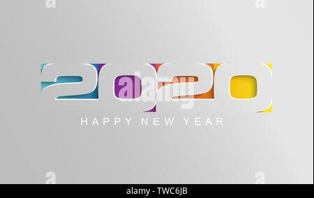 Happy 2020 new year card in paper style. - Stock Photo