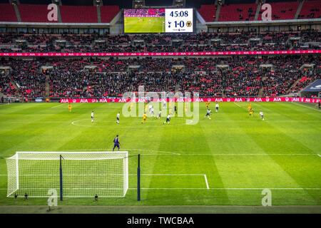 Premier League football match in play, Wembley Stadium, 29th December 2018, Tottenham Hotspur vs Wolverhampton Wanderers. London, England, UK. - Stock Photo