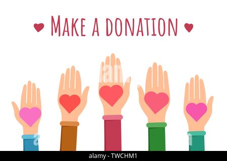 Make a donation flat banner template. Cartoon hands holding hearts symbolizing community support, money contribution. Charity, volunteering organization, charitable non profit foundation poster layout - Stock Photo