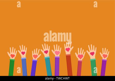 Community charitable work symbol flat illustration. Cartoon hands holding hearts on orange background. Charity fund, volunteering, fundraising organization uniting efforts for humanitarian aid - Stock Photo