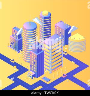 Futuristic city isometric vector illustration. 3d skyscrapers, residential area with roads, streets, cars, infrastructure. Housing estate, realistic urban buildings, megapolis dwelling place - Stock Photo