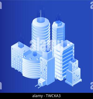 Smart city isometric vector illustration. 3d skyscrapers, residential buildings. Architecture bureau, design agency infrastructure project with realistic urban towers, office centers, dwelling places - Stock Photo