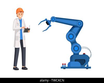 Engineer operate robotic arm flat illustration. Smart industry, automatic manufacturing, industrial revolution. Scientist, mechanic setting futuristic technologies isolated cartoon character - Stock Photo