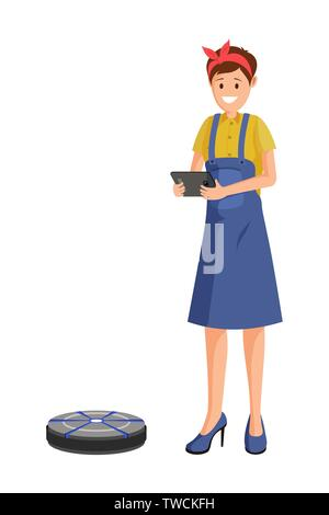 Robot vacuum cleaner flat vector illustration. Home, household chores automation, robotics in daily life, smart cleaning. Housewife, housekeeper, maid character using automatic, remote control vacuum - Stock Photo
