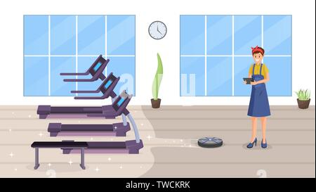 Gym smart cleaning flat vector illustration. Happy female janitor using automatic robot vacuum cleaner cartoon character. Fitness club cleaning with intelligent technologies, automation - Stock Photo
