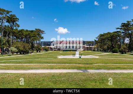Estoril Gardens with Estoril Casino in the background - Stock Photo