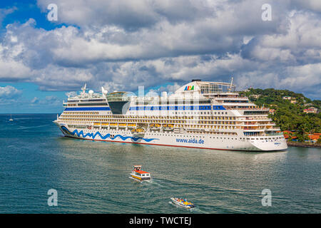 CASTRIES, ST LUCIA - November 21, 2016: AIDA Cruises is an American/British-owned German cruise line based in Rostock, Germany. The company entered th - Stock Photo