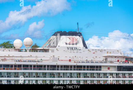 CASTRIES, ST LUCIA - November 21, 2016: Viking Cruises is a cruise line providing river and ocean cruises, with two divisions, Viking River Cruises an - Stock Photo