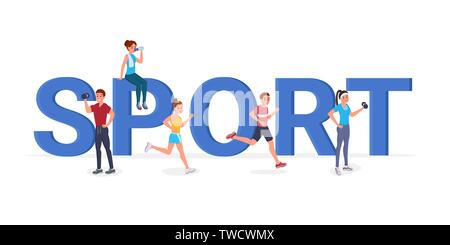 Strong sports cartoon people having workout, doing sport, drinking water, running near sport inscription flat style vector illustration. Isolated on white - Stock Photo