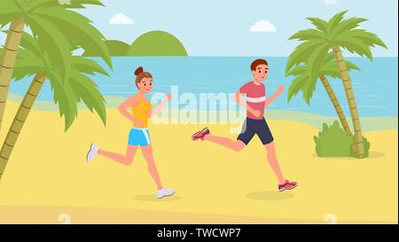 Smiling jogging couple happy running on the beach flat style vector illustration - Stock Photo