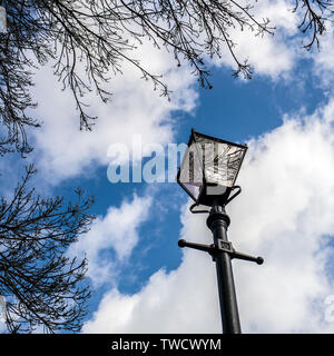 Victorian Lamp Post, london converted  Victorian gas street lamp. - Stock Photo