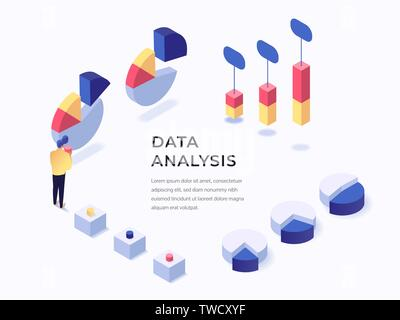 Data anaysis concept isometric flat style vector illustration. Place for text. Charts and graphs