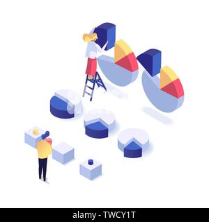 People analysing, prioritising and saving important business data isometric vector illustration. Data visualization concept 3d - Stock Photo