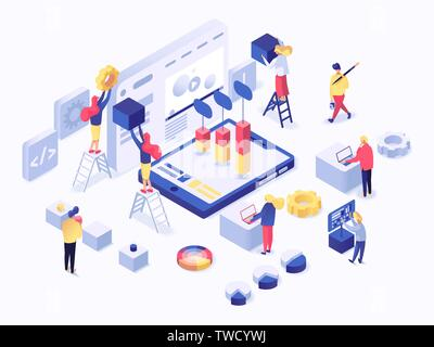 Modern isometric concept of website creation or mobile application vector illustration isolated on white background - Stock Photo