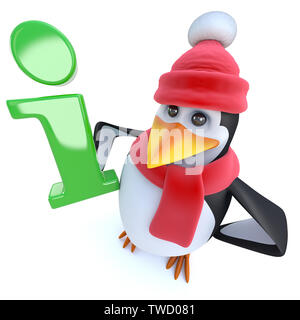 3d render of a funny cartoon winter penguin holding an information symbol - Stock Photo