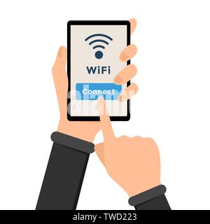 Wifi, wireless internet connection illustration. Hand holding smartphone and finger pointing at connect button. Free wifi access zone, public internet area, strong signal sign, online network - Stock Photo