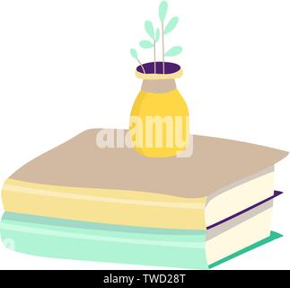 book flat icon colorful hand drawn illustration two books and flower - Stock Photo