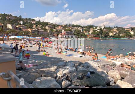 Lido Palace Hotel Beach, Santa Margherita Ligure, Italy.  Santa Margherita Ligure is a comune in the Metropolitan City of Genoa. - Stock Photo