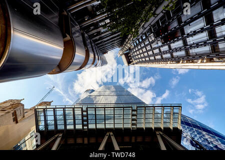The Lloyd's building (Grade I listed) is the home of the insurance institution Lloyd's of London. - Stock Photo