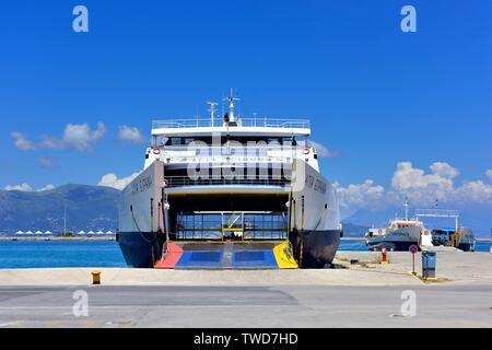 Corfu new port,car ferries waiting to load,Kerkyra,ionian islands,Greece - Stock Photo