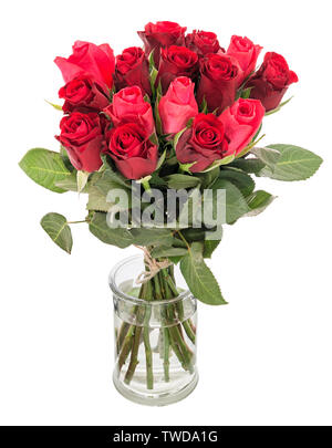 Bouquet of beautiful red roses in vase isolated on white background - Stock Photo