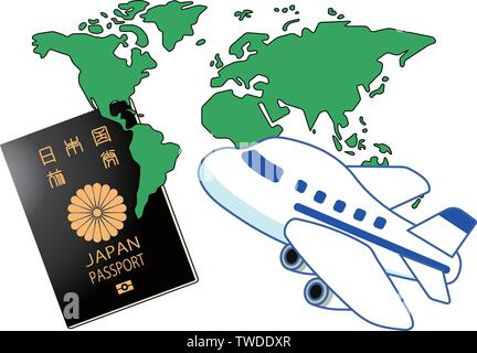 This is a Illustration of Japanese passport. - Stock Photo