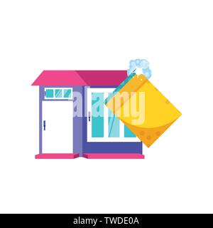 Cleaning sponge and house design, Object home work hygiene equipment domestic and housework theme Vector illustration - Stock Photo