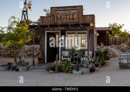 Pioneertown Motel Reception Building in Pioneertown, California - Stock Photo
