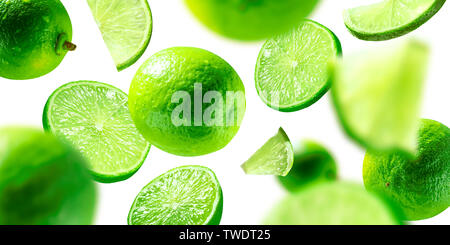 green lime levitated on a white background - Stock Photo