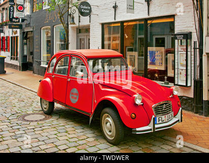 The historic car 2CV of Citroen, also known as duck (german: Ente), Flensburg, Schleswig-Holstein, Germany - Stock Photo