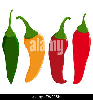 A set of hot chili peppers in four colors:  red, green and yellow chili peppers. - Stock Photo